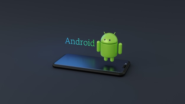 Logotipo do sistema operacional android com smartphone 3d