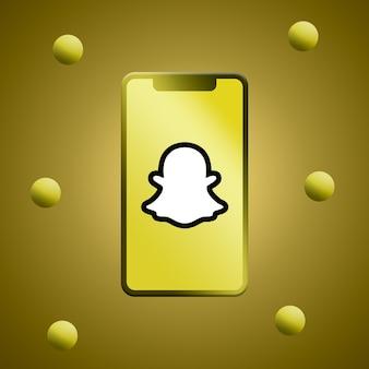 Logotipo do snapchat na renderização 3d da tela do telefone