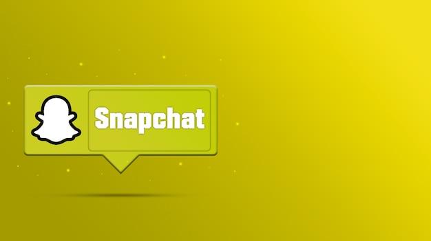 Logotipo do snapchat na renderização 3d do balão de fala