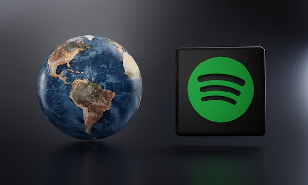 Logotipo do spotify ao lado da renderização em 3d da terra.