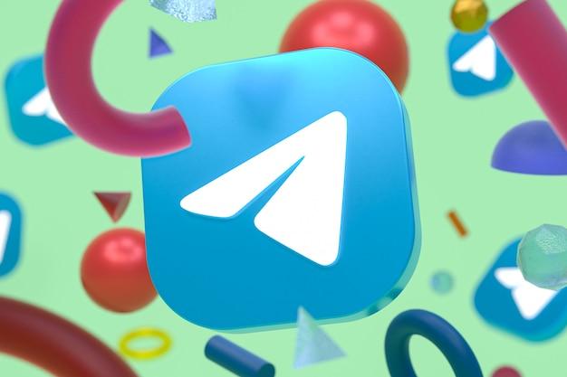 Logotipo do telegram em fundo de geometria abstrata