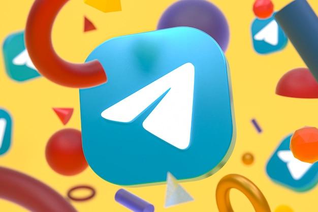 Logotipo do telegram em fundo geométrico abstrato