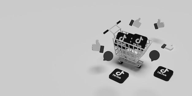 Logotipo do tiktok 3d no carrinho e voando como conceito para o conceito de marketing criativo com superfície branca renderizada
