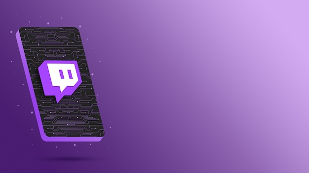Logotipo do twitch no display tecnológico do telefone 3d render