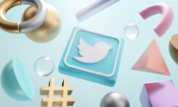 Logotipo do twitter em torno de renderização 3d fundo forma abstrata