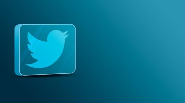 Logotipo do twitter em uma plataforma de vidro 3d