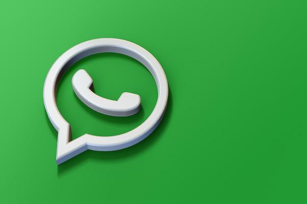 Logotipo do whatsapp 3d minimalista com espaço em branco