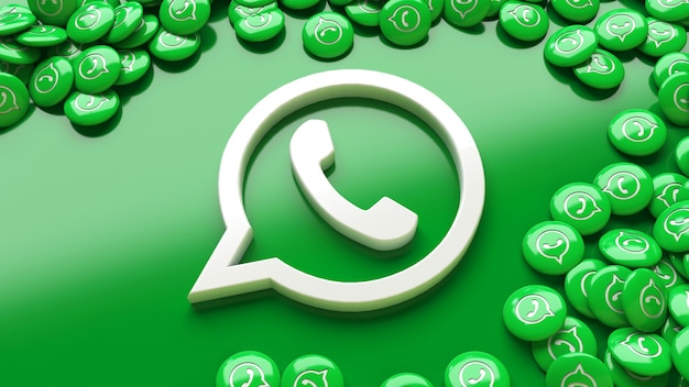 Logotipo do whatsapp 3d sobre fundo verde cercado por muitos comprimidos brilhantes do whatsapp