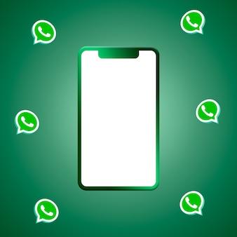 Logotipo do whatsapp ao redor do telefone com renderização 3d de tela em branco