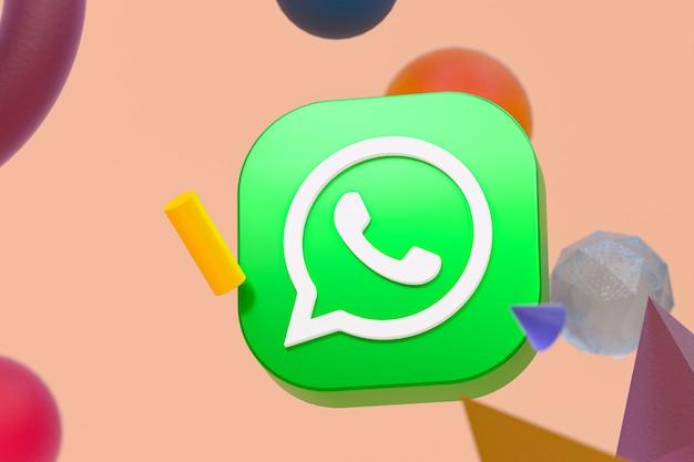 Logotipo do whatsapp em fundo de geometria abstrata