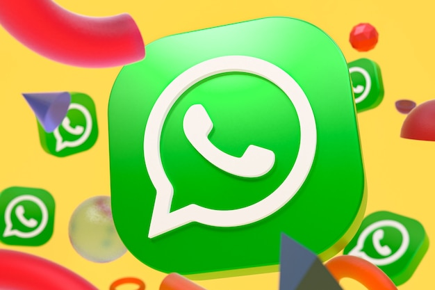 Logotipo do whatsapp em fundo de geometria abstrata