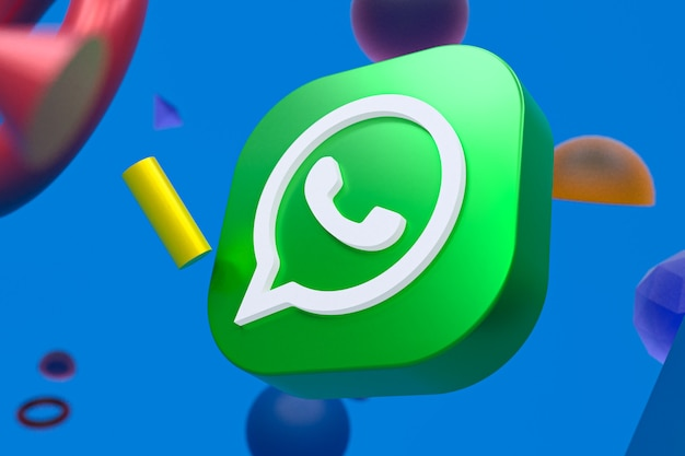 Logotipo do whatsapp em fundo geométrico abstrato