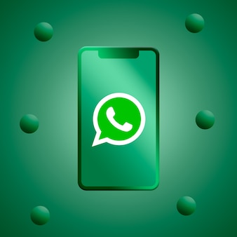 Logotipo do whatsapp na renderização 3d da tela do telefone