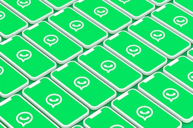 Logotipo do whatsapp nas telas do smartphone em renderização 3d