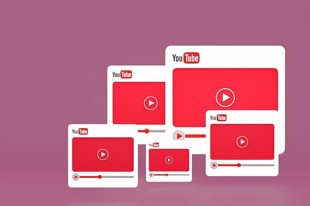 Logotipo do youtube e design 3d do player de vídeo ou interface do player de mídia de vídeo