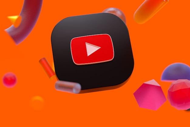 Logotipo do youtube em fundo de geometria abstrata