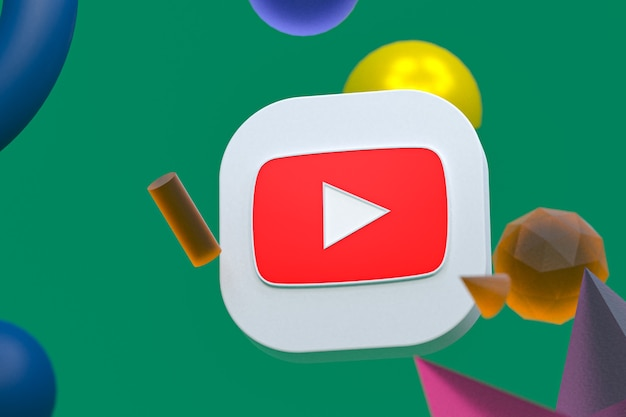 Logotipo do youtube em fundo geométrico abstrato