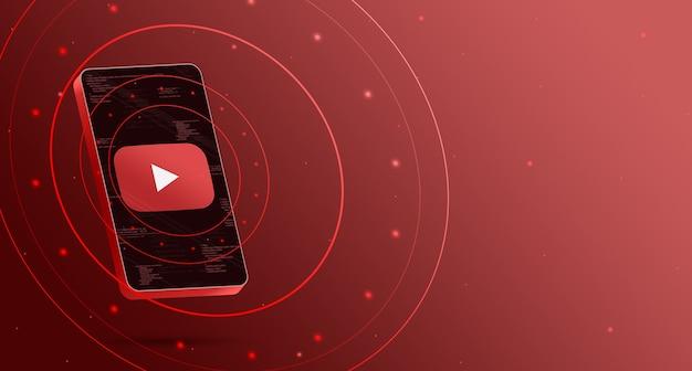 Logotipo do youtube no telefone com display tecnológico, renderização 3d inteligente