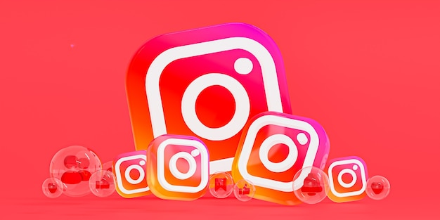 Logotipo ig de vidro acrílico do instagram e ícones de mídia social com espaço de cópia