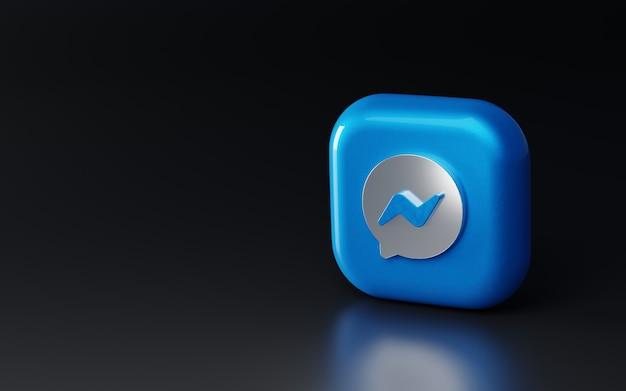 Logotipo metálico brilhante 3d do facebook messenger