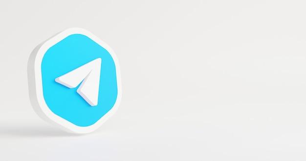 Logotipo mínimo em renderização 3d de fundo branco