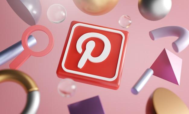 Logotipo pinterest ao redor renderização 3d forma abstrata fundo