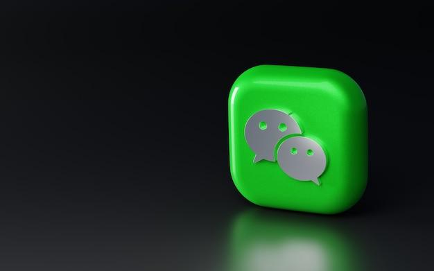 Logotipo wechat metálico brilhante 3d