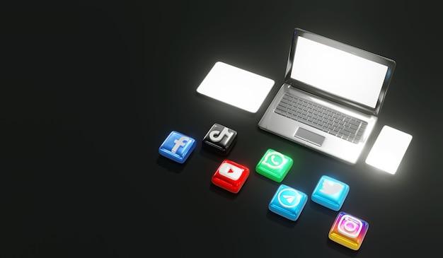 Logotipos brilhantes 3d de mídia social com laptop, tablet, telefone e fundo escuro