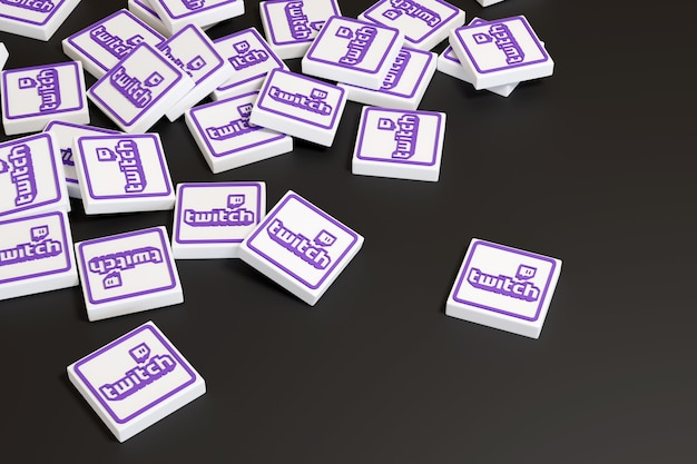 Logotipos de plataforma de streaming em três dimensões isoladas em preto.