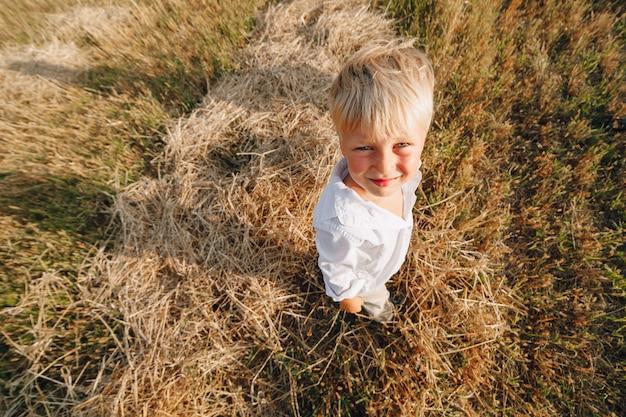 Loiro garoto jogando feno no campo. verão, tempo ensolarado, agricultura.