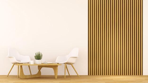Loja de café ou sala de estar limpa design - renderização 3d