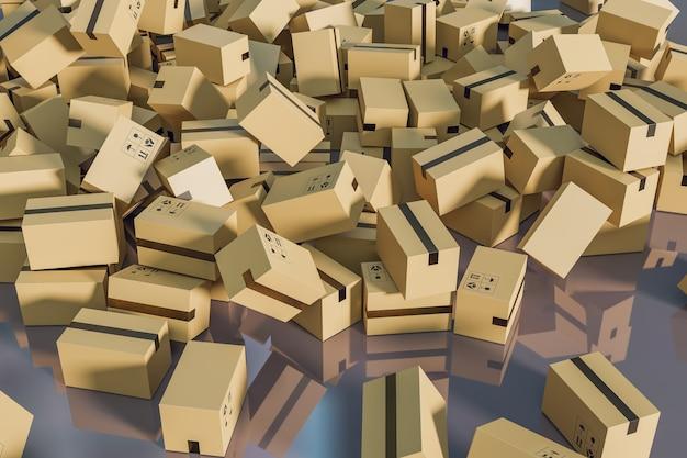 Loja de caixas de entrega de encomendas para compras, renderização de ilustrações 3d