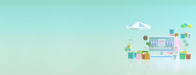 Loja de comércio eletrônico 3d online com espaço para cópia