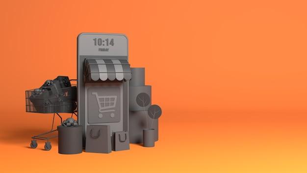 Loja de comércio eletrônico online 3d black