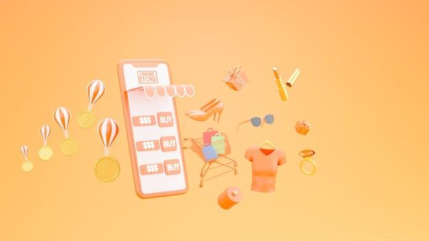 Loja de compras online no conceito de aplicativo móvel em renderização 3d