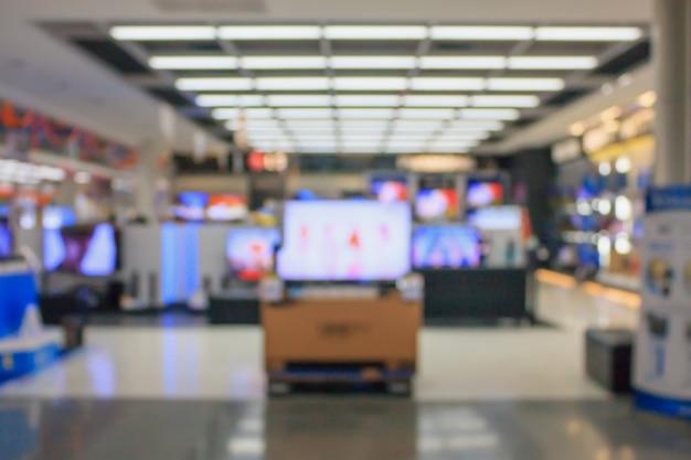 Loja de departamentos eletrônicos com bokeh de fundo desfocado