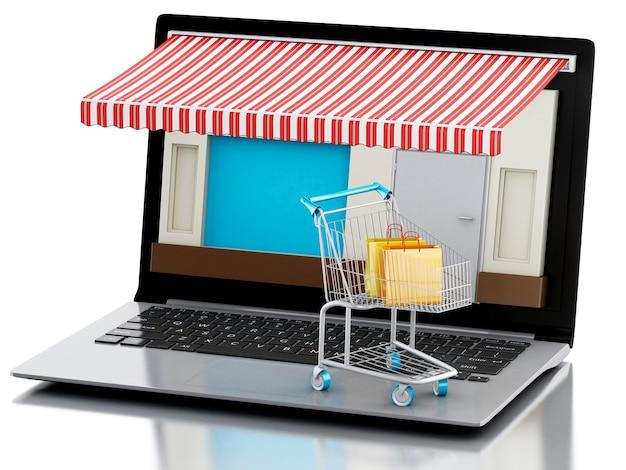 Loja de laptop 3d, e-commerce.