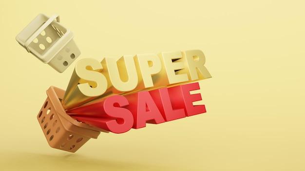 Loja de plástico de cesta de compras vazia com texto super venda renderização em 3d