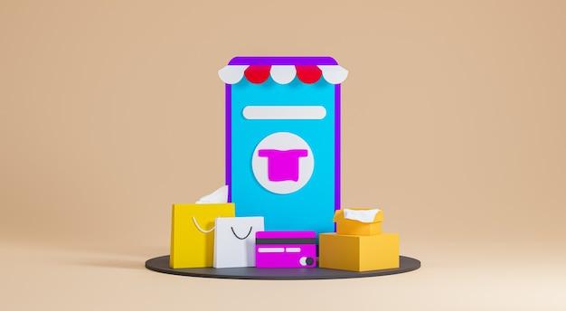 Loja de renderização 3d com sacolas de compras e cartões de crédito, compras online em fundo bege