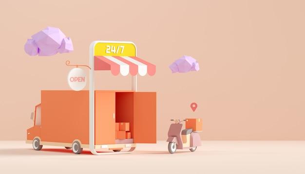 Loja e entrega on-line pelo conceito de scooter e caminhão