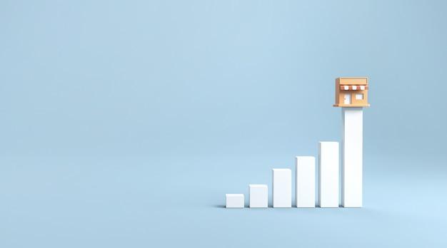 Loja e gráfico de marketing de franquia de crescimento.