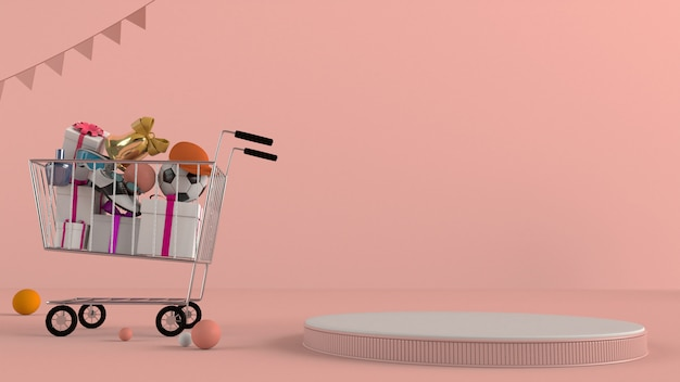Loja online, carro de compras com pódio em um fundo rosa.