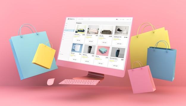 Loja online de computadores flutuantes e sacolas de compras