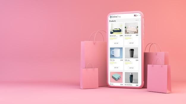 Loja online no celular com sacolas de compras