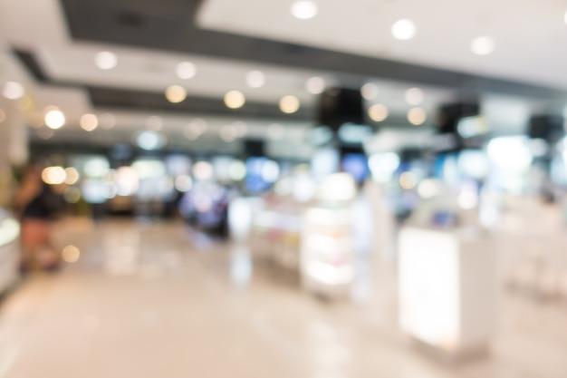 Lojas em shopping centers desfocado