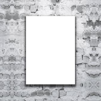 Lona em branco 3d em uma parede de tijolo do grunge