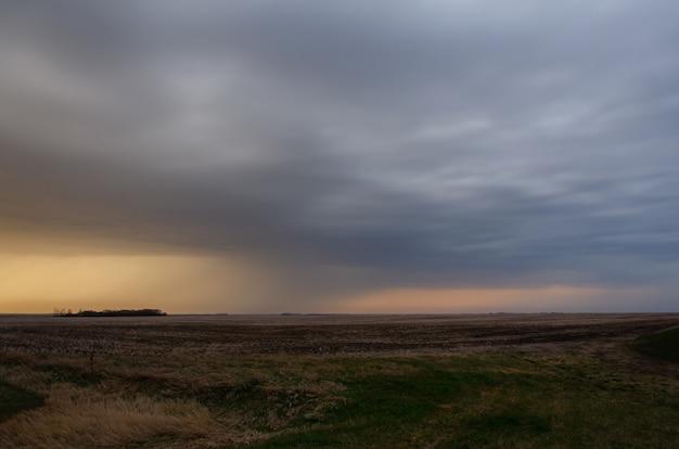 Longo campo coberto de verdes brilhando sob o céu nublado e chuvoso