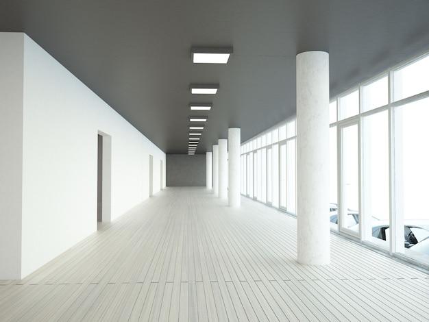 Longo corredor da sede com parede de janelas