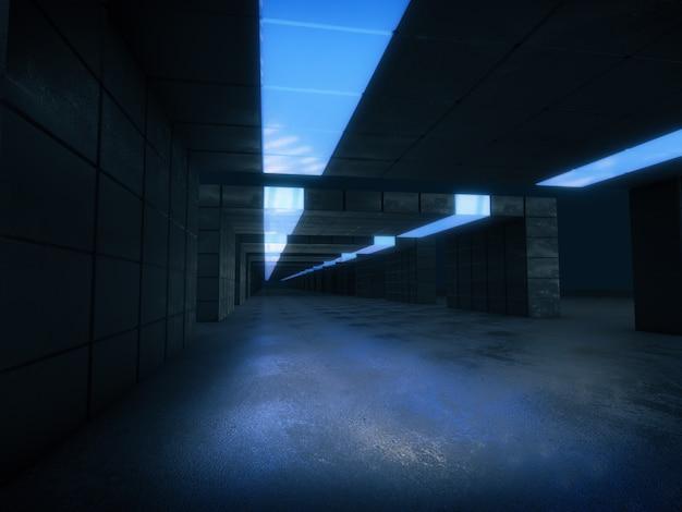 Longo corredor escuro com luz azul