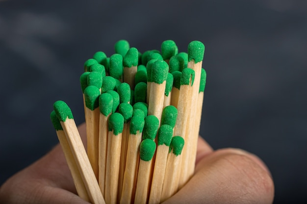 Longos fósforos de madeira com cinza verde na mão